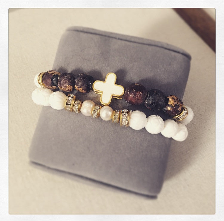 Gold-Leaf Monk Prayer Beads, Tibetan Carved Ivory & Pearl Bracelet - O.H.M. Jewelry by Heather Matjasic