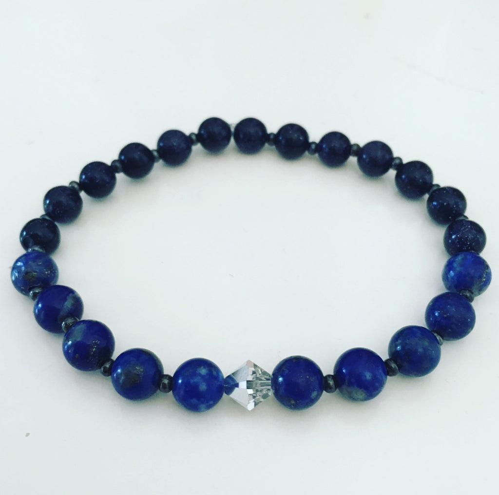 lapis lazuli goldstone swarovski crystal heather matjasic ohm jewelry shop