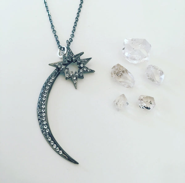 Waxing Crescent Moon & Kastra Star Necklace