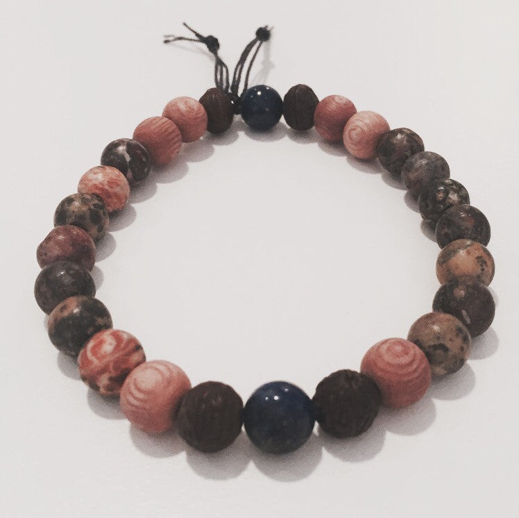 Men's Leopardskin Jasper, Lapis Lazuli & Bodhi Seeds Bracelet - O.H.M. Jewelry by Heather Matjasic