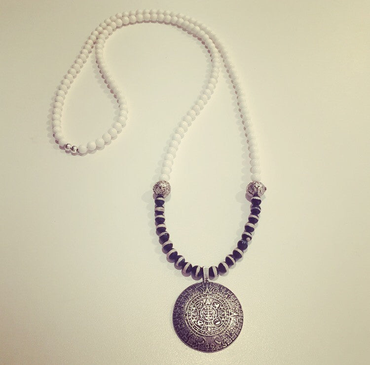 Lava Rock, Banded Onyx & Mayan Calendar Pendant Necklace - O.H.M. Jewelry by Heather Matjasic