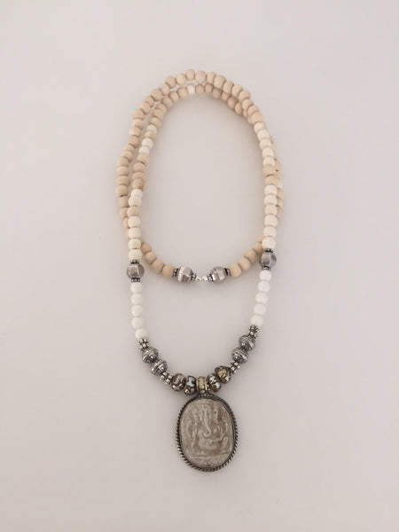 Ganesha & Etched Pearl Necklace - O.H.M. Jewelry by Heather Matjasic