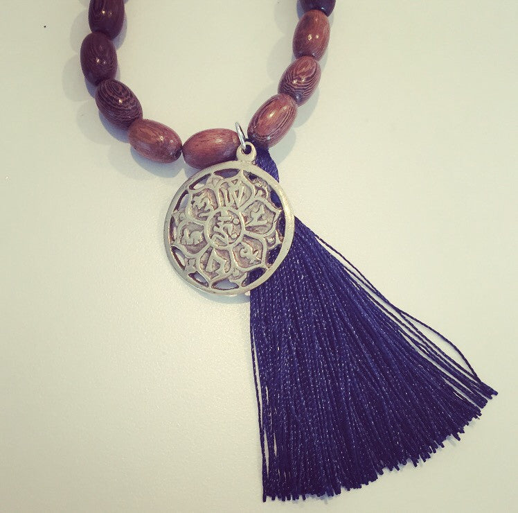 Lotus Pendant & Wood Tassel Necklace - O.H.M. Jewelry by Heather Matjasic