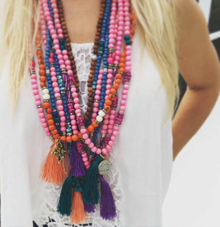 Pink Double Vajra Tassel Necklace - O.H.M. Jewelry by Heather Matjasic