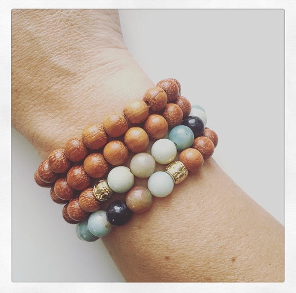 Amazonite & Wood Wrap Bracelet - O.H.M. Jewelry by Heather Matjasic