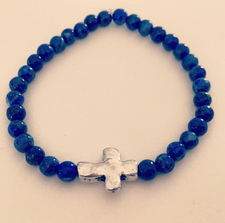 Lapis Lazuli Cross Bracelet - O.H.M. Jewelry by Heather Matjasic