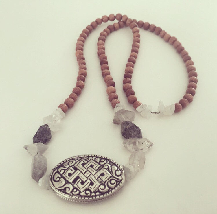 Tibetan Endless Knot With Sacred Tibetan Quartz - O.H.M. Jewelry by Heather Matjasic