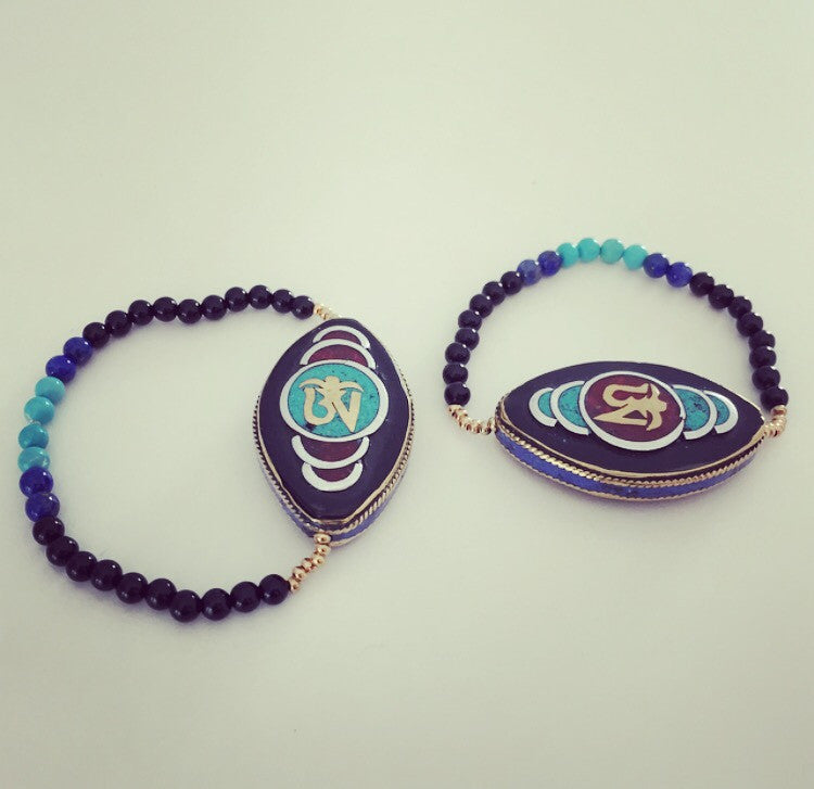 Tibetan Turquoise Onyx, Lapis Lazuli, Turquoise & Coral Ohm and 24k Gold Plated Bracelet - O.H.M. Jewelry by Heather Matjasic