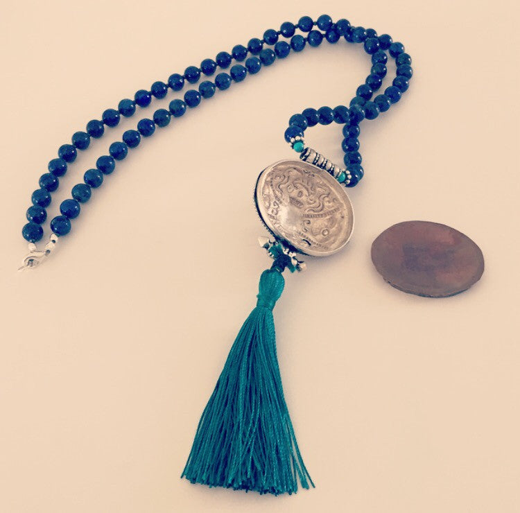Tibetan Turquoise Prayer Amulet with Turquoise, Lapis Lazuli, & Gunmetal Necklace - O.H.M. Jewelry by Heather Matjasic