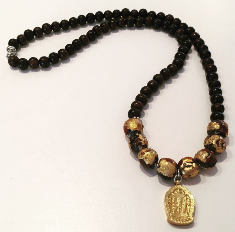 24k Gold-Plated Tibetan Kalachakra Prayer Amulet with Gold-Leaf Monk Prayer Beads Necklace - O.H.M. Jewelry by Heather Matjasic