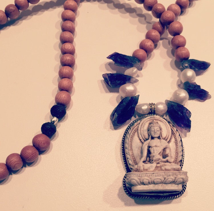 Bodhi Tree Amethyst & Pearl Buddha Necklace - O.H.M. Jewelry by Heather Matjasic