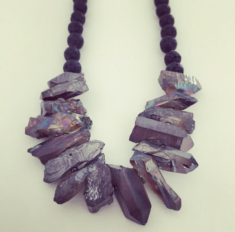Titanium Aura Quartz, Lava Rock & Gunmetal Necklace