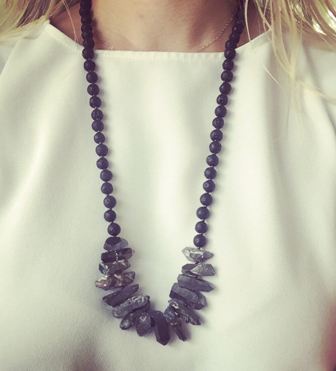 Titanium Aura Quartz, Lava Rock & Gunmetal Necklace - O.H.M. Jewelry by Heather Matjasic