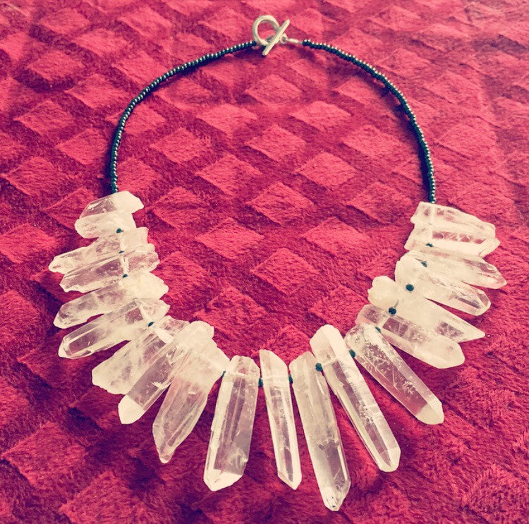 Quartz Point & Gunmetal Collar Necklace - O.H.M. Jewelry by Heather Matjasic