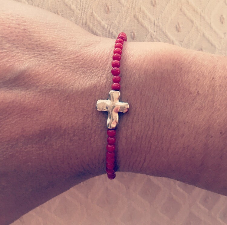 Coral Cross Bracelet - O.H.M. Jewelry by Heather Matjasic