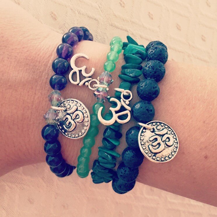 Malachite Bracelet with Cross, Ohm Coin, Ohm Charm Options - O.H.M. Jewelry by Heather Matjasic