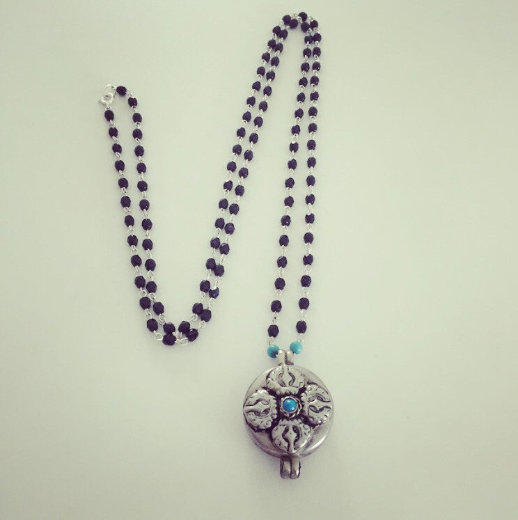 Jet & Turquoise Rosary with Tibetan Gau Prayer Amulet - O.H.M. Jewelry by Heather Matjasic