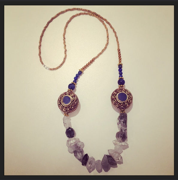 Sacred Tibetan Quartz & Tibetan Lapis Medallions 24k Gold Plated Necklace Quartz Point & Gunmetal Collar Necklace - O.H.M. Jewelry by Heather Matjasic