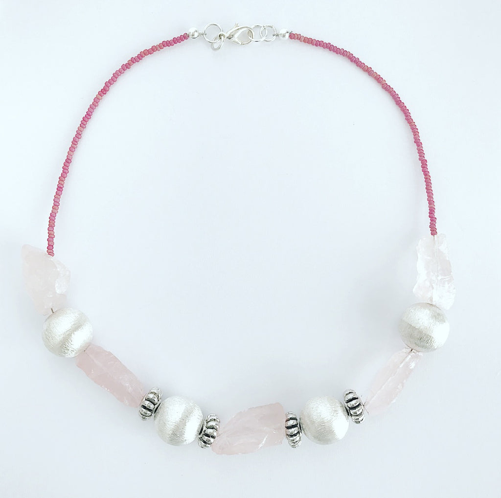 Heather Matjasic LOVE OHM Jewelry Shop Rose quartz necklace Mykonos Greece