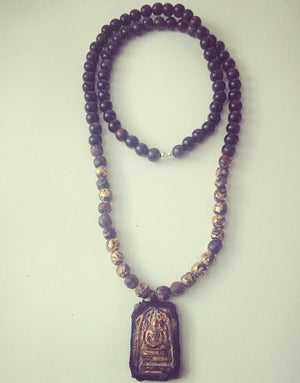 Gold-Leaf Monk Prayer Bead Buddha Necklace - O.H.M. Jewelry by Heather Matjasic