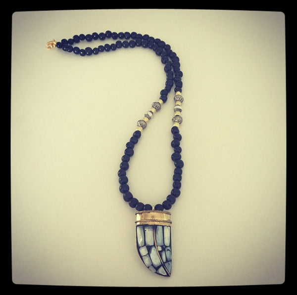 Tibetan Inlay Horn Pendant & Acai Seed Necklace - O.H.M. Jewelry by Heather Matjasic