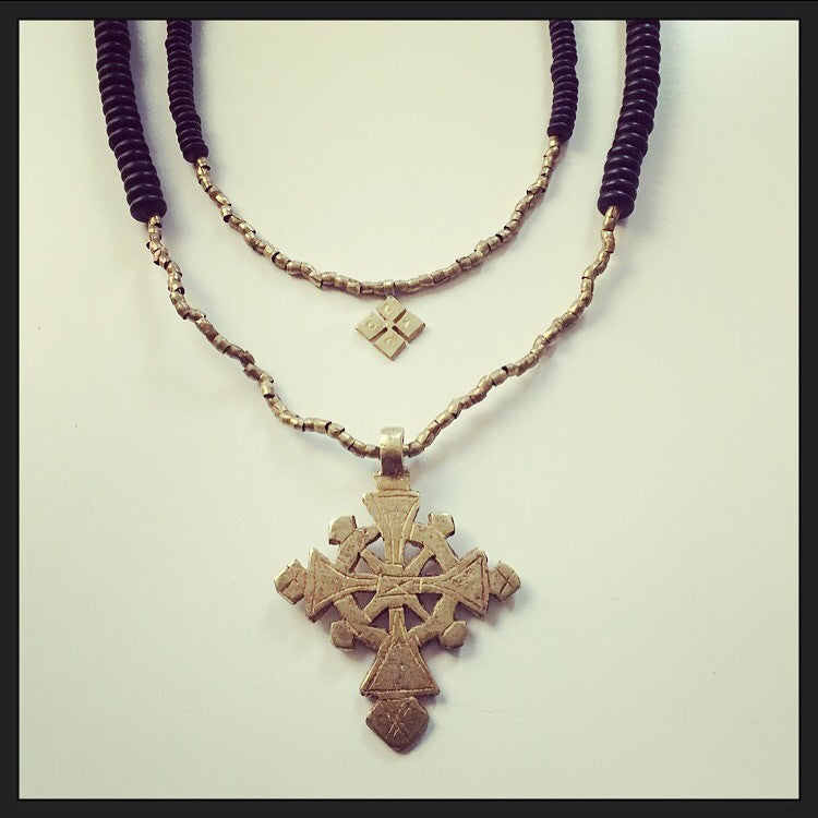 Ethiopian Cross (large) & Onyx Necklace