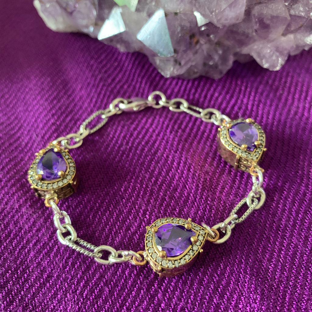 heather matjasic ohm jewelry shop ameythst gemstone crown jewels sterling silver brass turkey bracelet