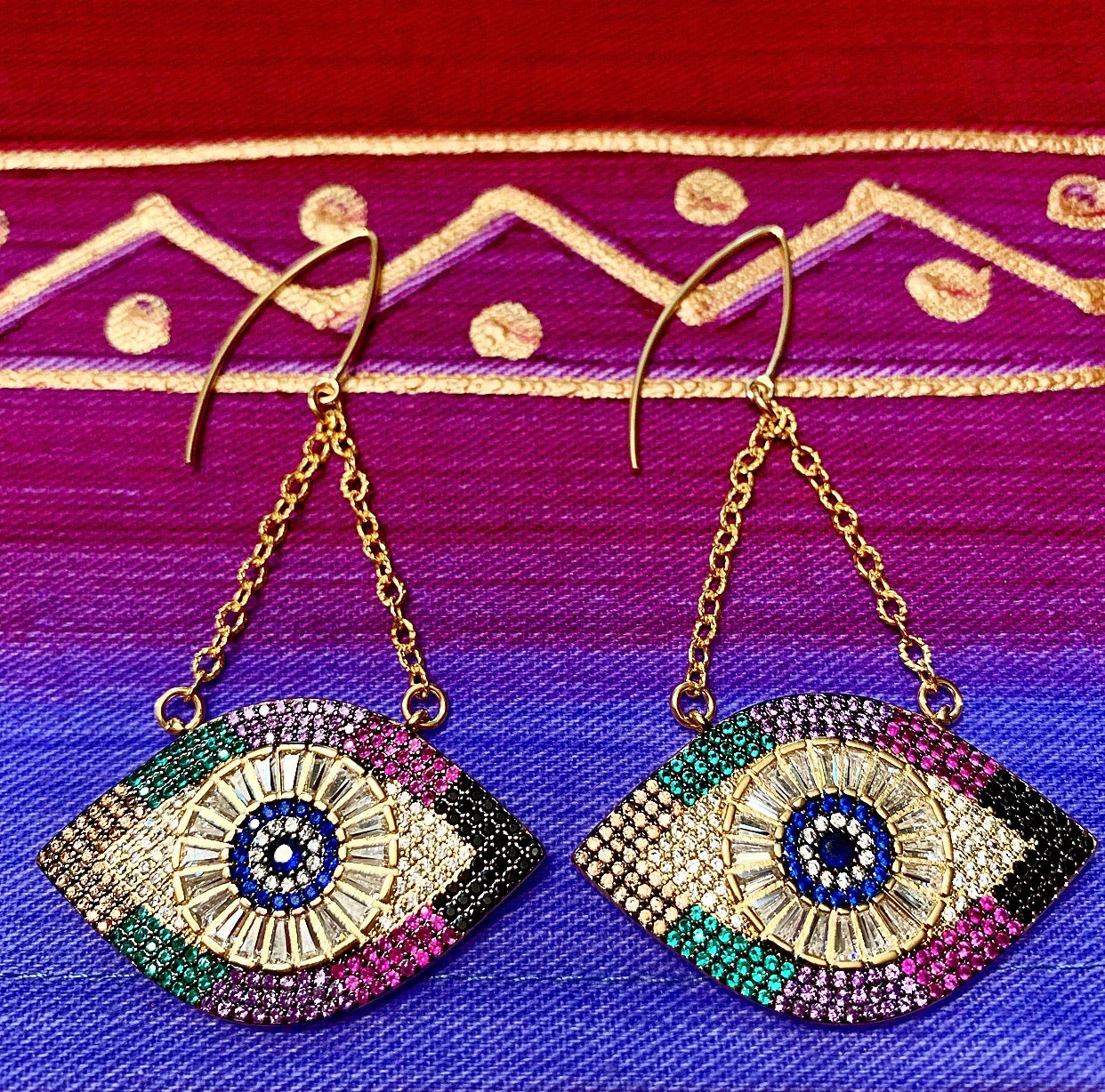 heather matjasic evil eye statement earrings gold ohm jewelry shop naples florida