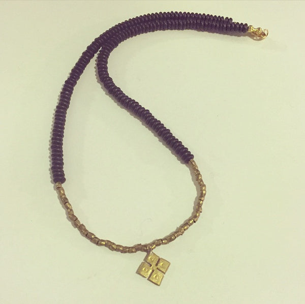 Ethiopian Brass Cross (small) & Onyx Necklace - O.H.M. Jewelry by Heather Matjasic