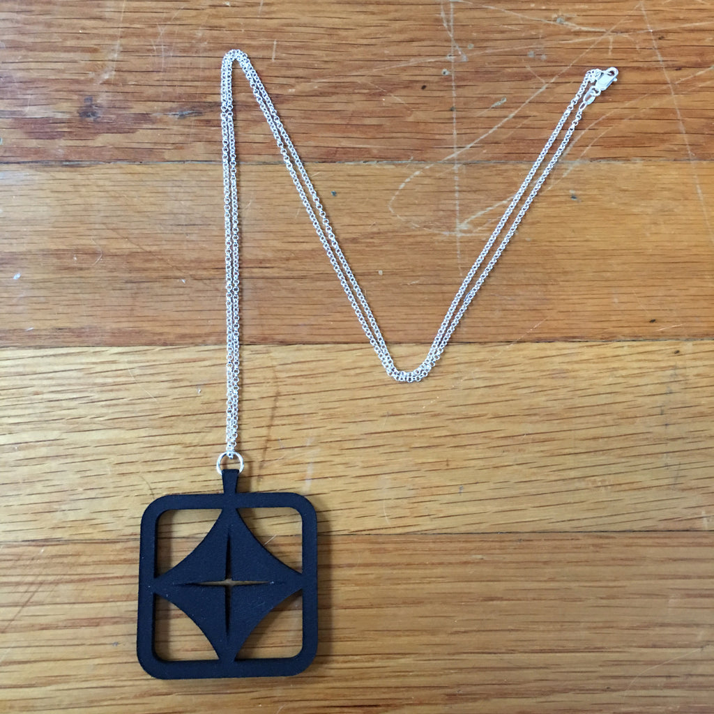 "ohm jewelry heather matjasic mit media lab 3d printing logo pendant sterling silver necklace 30"" chain"