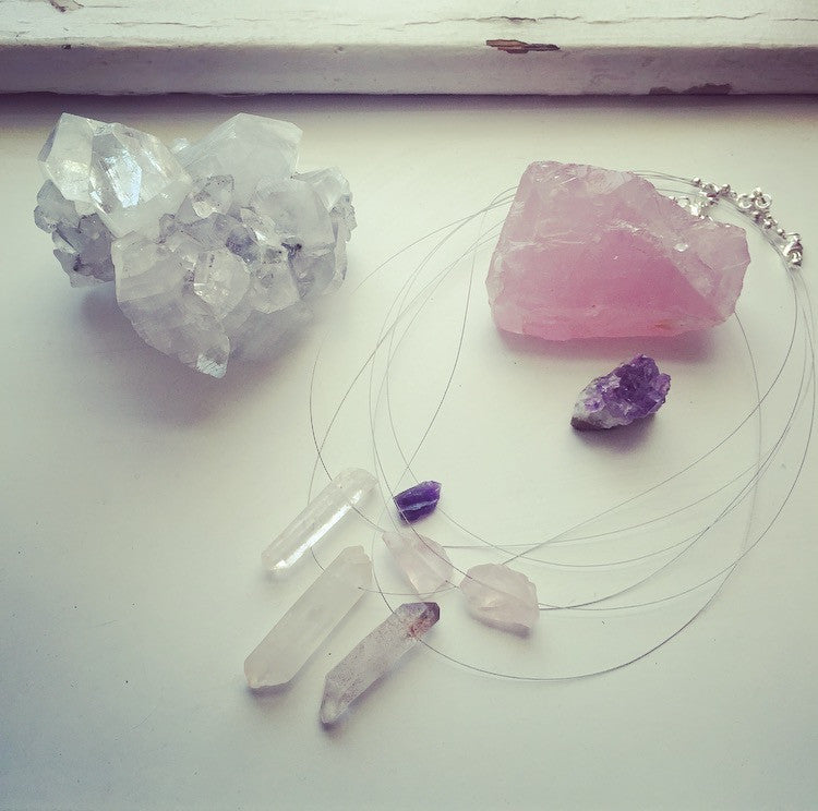 heather matjasic modern minimalist collection amethyst rose quartz tangerine quartz