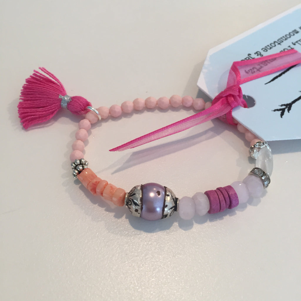 Pearl, Coral, Jade & Rose Quartz Tassel Bracelet - O.H.M. Jewelry by Heather Matjasic