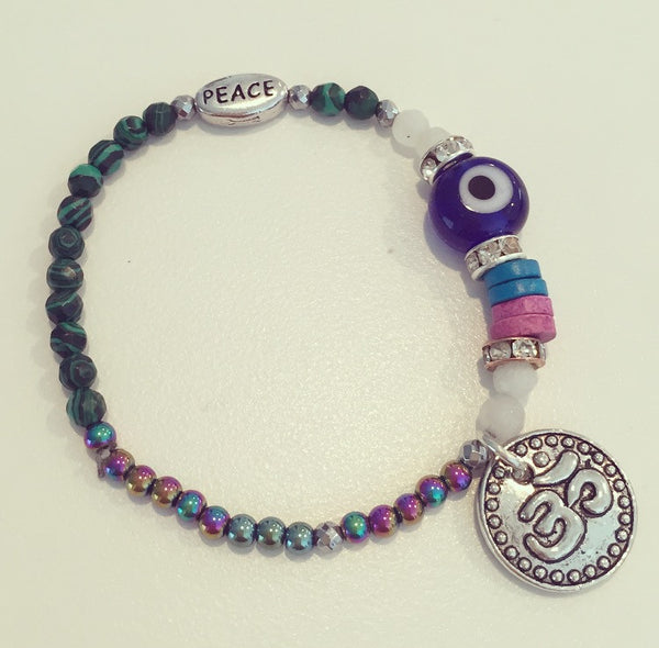 Hematite, Malachite Evil Eye Ohm Charm Bracelet - O.H.M. Jewelry by Heather Matjasic