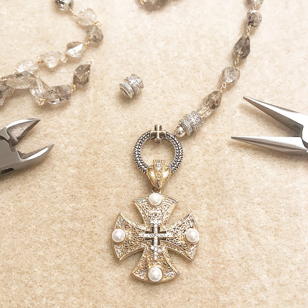 gold sterling silver turkish cross pearl herkimer diamond pave crystal necklace ohm jewelry shop ohmjewelryshop heather matjasic naples florida