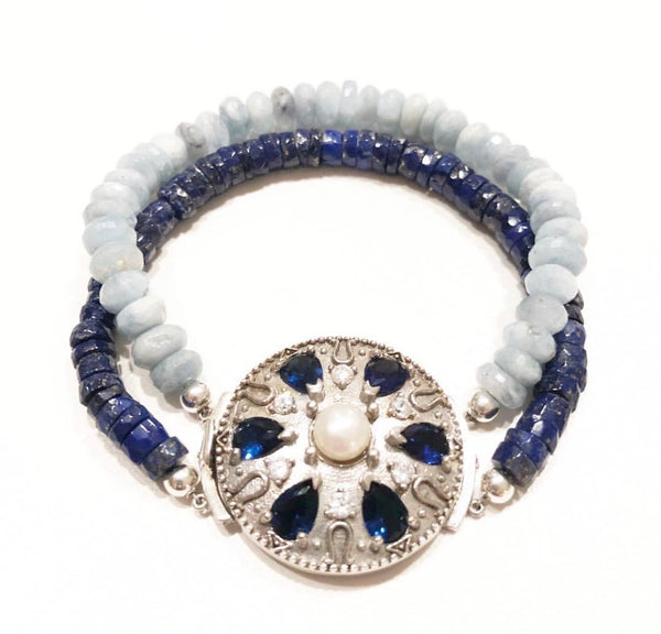 ohmjewelryshop | OHM Jewelry | Heather Matjasic | Aquamarine | Lapis Lazuli | Sterling Silver | Turkey | Handmade Bracelet