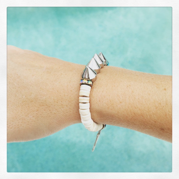 Spike & Feather Bracelet - O.H.M. Jewelry by Heather Matjasic