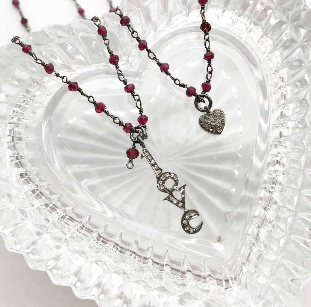 garnet rosary chain sterling silver white topaz love pendant necklace valentine's day heather matjasic ohmjewelryshop ohm jewelry shop naples florida