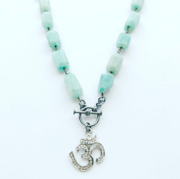 amazonite .925 SS gunmetal toggle clasp OM pendant pave crystal yoga jewelry crystal jewelry valentines day gifts heather matjasic naples florida