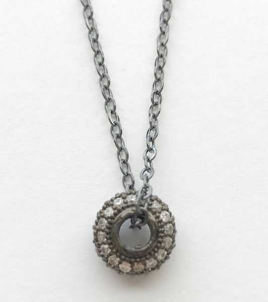 gunmetal sterling silver .925 necklace pave crystal circle pendant heather matjasic ohm jewelry shop ohmjewelryshop naples florida valentines day gifts for her