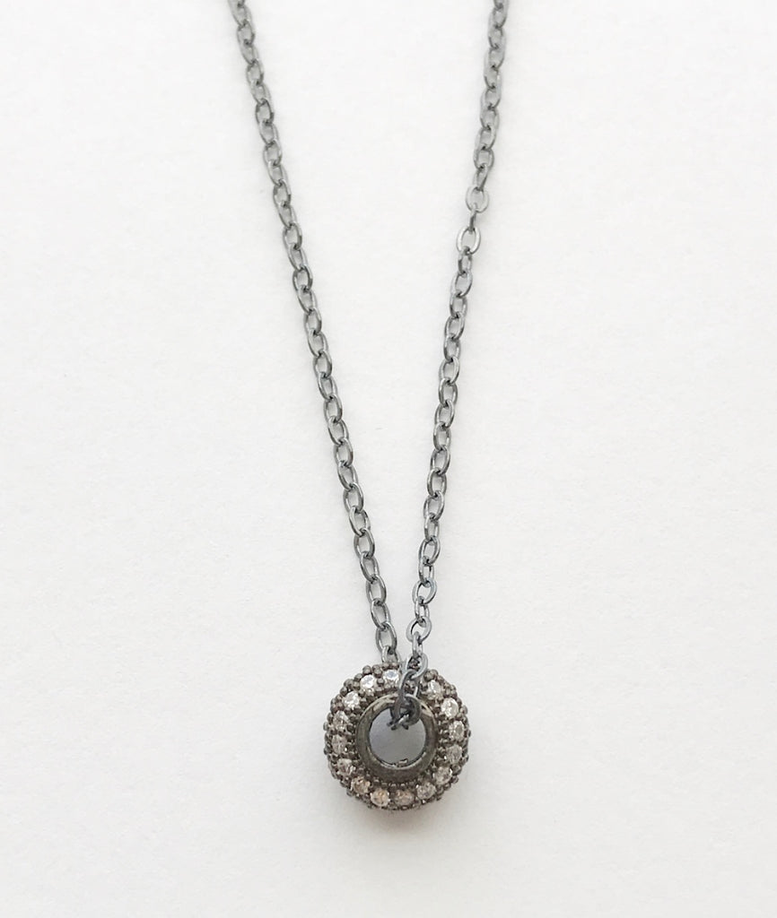 gunmetal sterling silver .925 chain necklace pave crystal circle pendant heather matjasic ohm jewelry shop ohmjewelryshop naples florida valentines day gifts for her