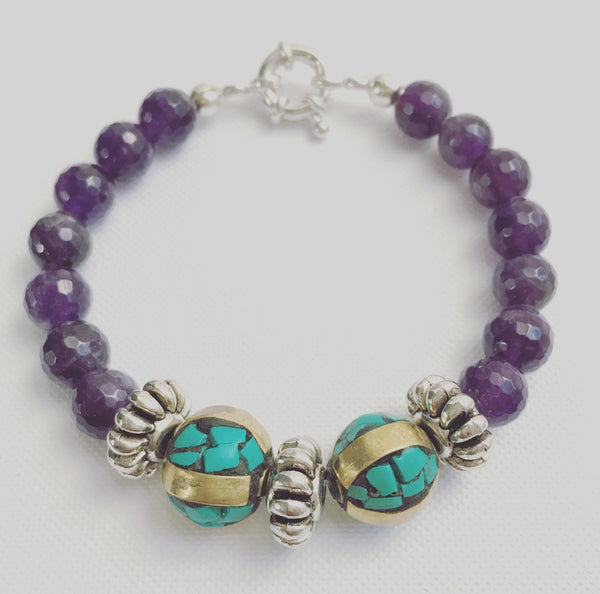 amethyst tibetan turquoise bracelet toggle heather matjasic ohm jewelry o.h.m.