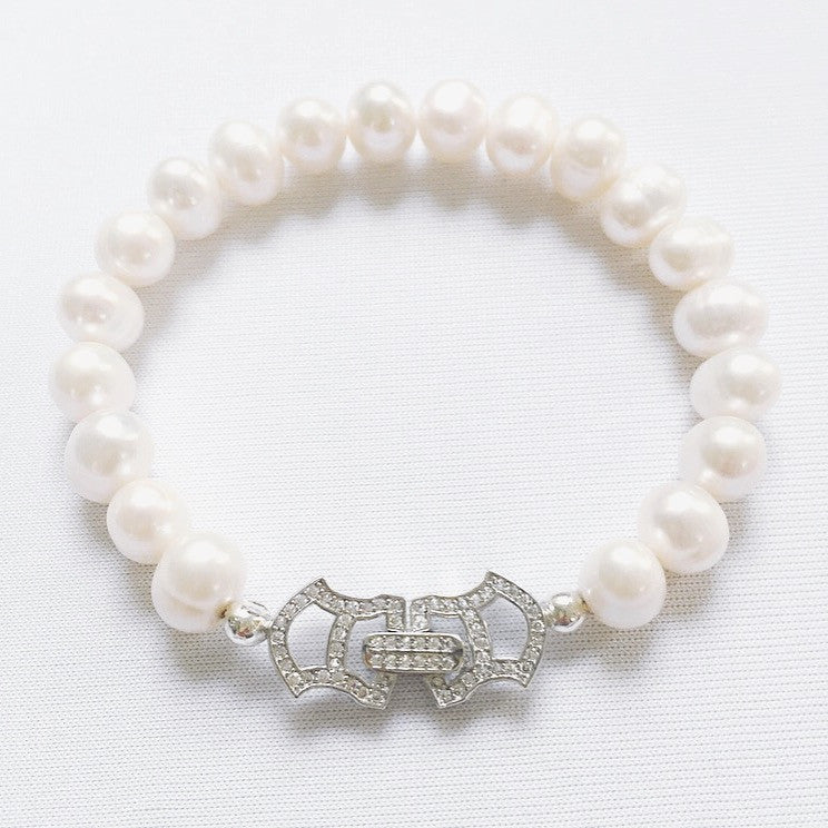 Freshwater Pearl & Pave Crystal Clasp Bracelet