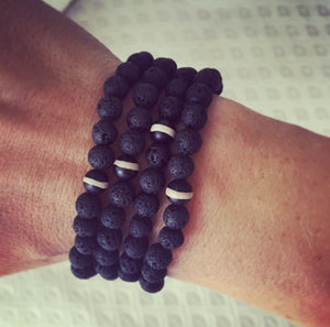 Men's Banded Onyx & Lava Rock Bracelet - O.H.M. Jewelry by Heather Matjasic