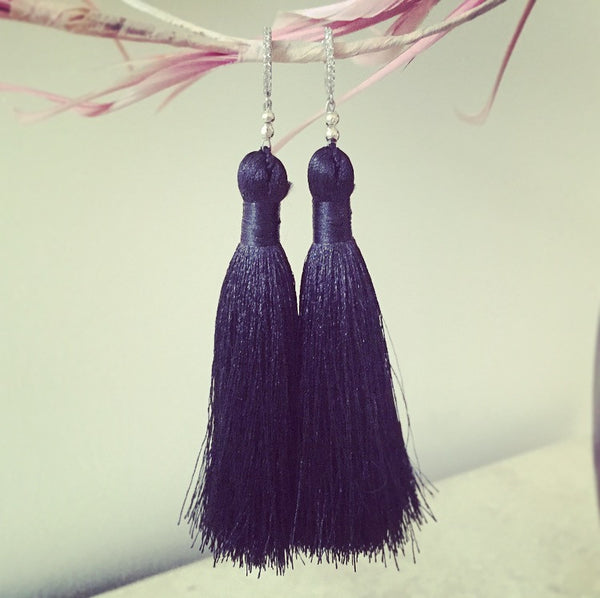 Sterling Silver Pave Crystal Black Silk Tassel Earrings - O.H.M. Jewelry by Heather Matjasic