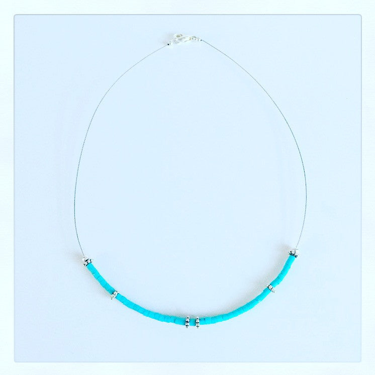 Turquoise Heishi Necklace - O.H.M. Jewelry by Heather Matjasic