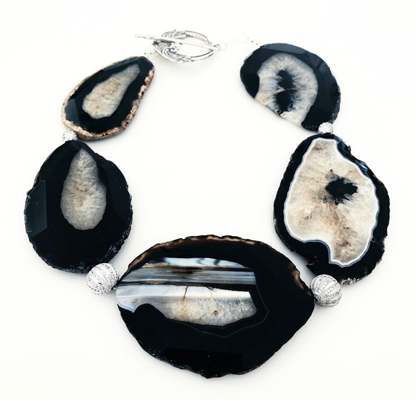 Heather Matjasic ohm jewelry shop naples florida agate sterling silver pave crystal necklace