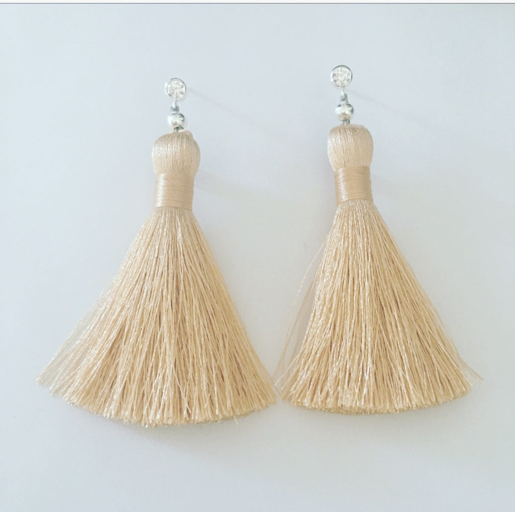 heather matjasic ohm jewelry shop tassel earrings sterling silver crystal posts