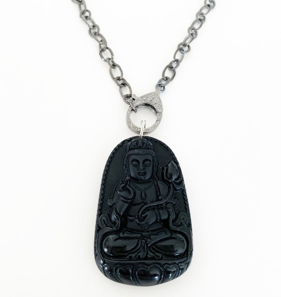 Heather Matjasic OHM Jewelry shop Sterling Silver Diamond Buddha Necklace