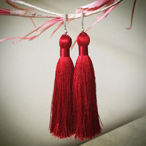 Sterling Silver Pave Crystal Red Silk Tassel Earrings - O.H.M. Jewelry by Heather Matjasic
