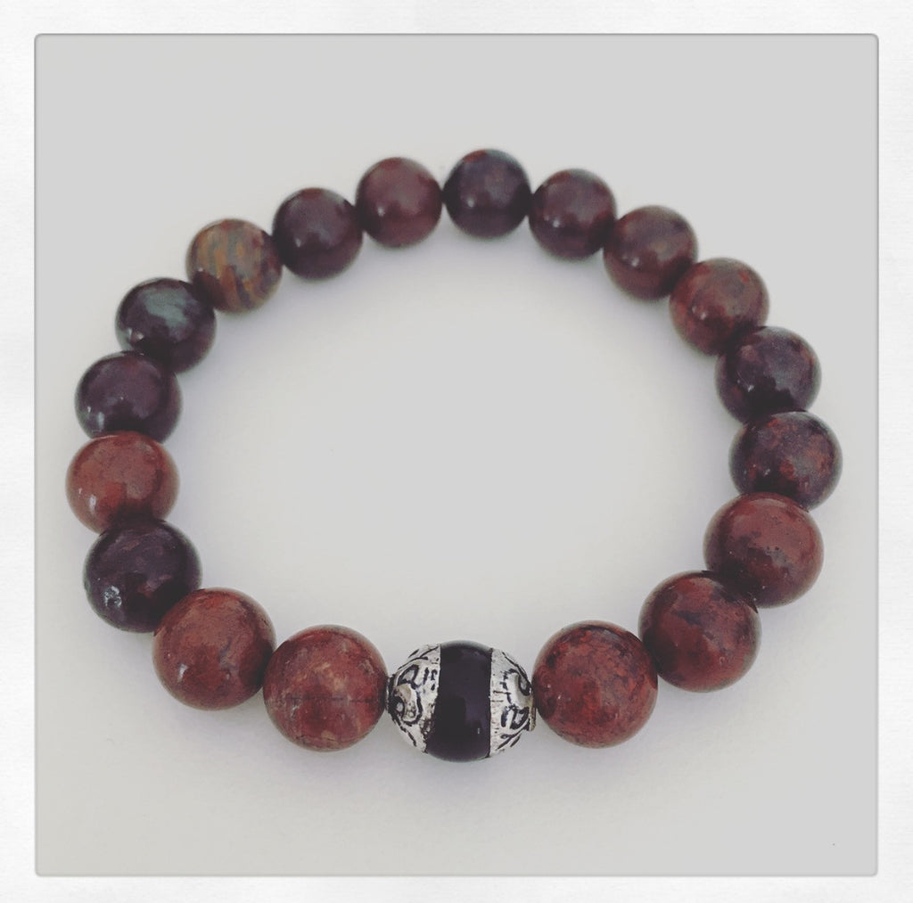 heather matjasic ohm jewelry shop o.h.m. mens bracelet jasper onyx tibetan sterling silver